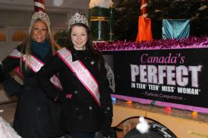 Our beautiful Canada's Perfect Queens beside their fabulous float just before the parade.